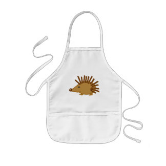 Funny Hedgehogs on White Kids Apron