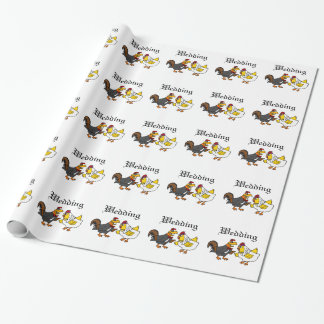 Funny Hen Bride and Rooster Groom Wedding Wrapping Paper