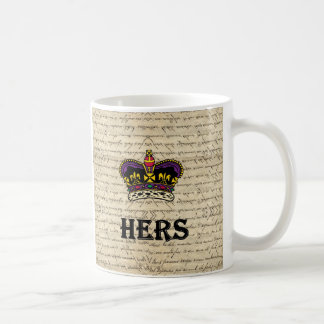 Funny hers text & crown mugs