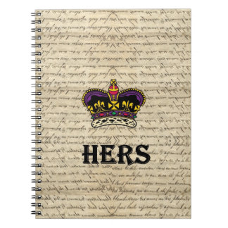 Funny hers text & crown spiral note book