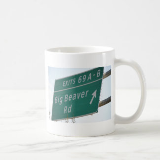 Funny HIghway Sign Big Beaver Road Exit 69 Mug