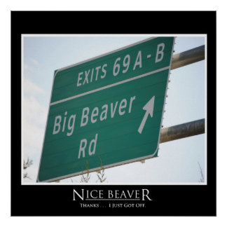 Funny Highway Sign, Big Beaver Road Exit 69 Poster
