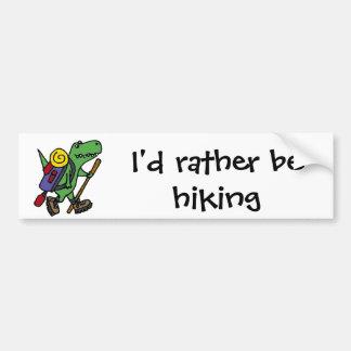 Funny Hiking Green T-Rex Dinosaur Bumper Sticker