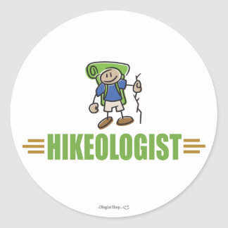 Funny Hiking Round Stickers