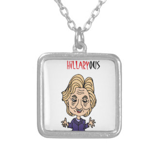 Funny Hillary Clinton Political Cartoon Square Pendant Necklace