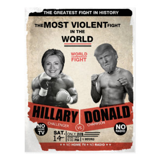 Funny Hillary Clinton vs Donald Trump Election Postcard