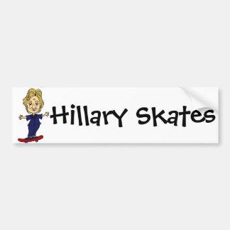 Funny Hillary Skates anti Hillary Political Art Bumper Sticker