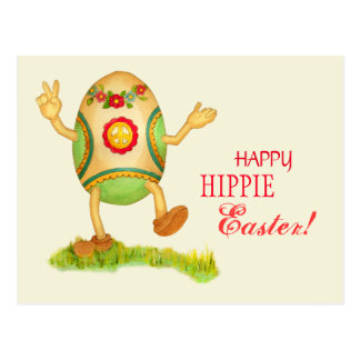 Funny Hippie Easter Postcard