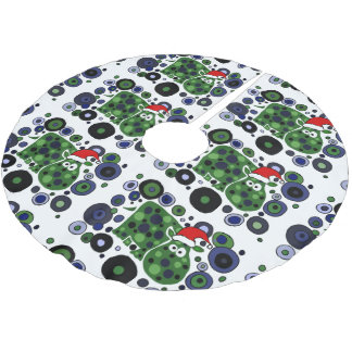 Funny Hippo Abstract Christmas Tree Skirt Brushed Polyester Tree Skirt