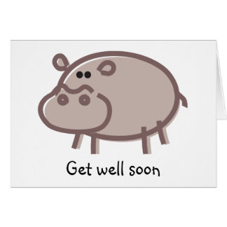 Funny Hippo on White Greeting Card