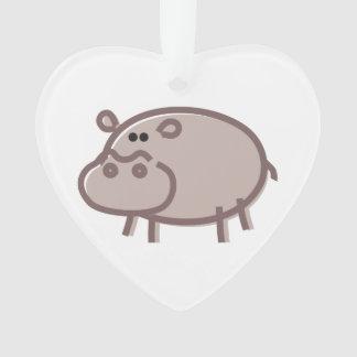 Funny Hippo on White Ornament