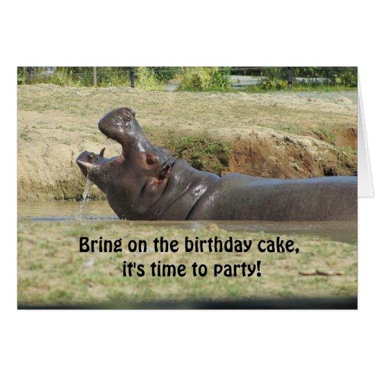 Funny Hippopotamus Birthday Greeting Card