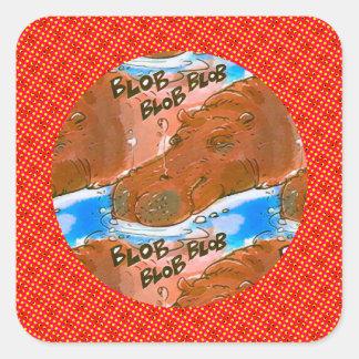 funny hippopotamus cartoon square sticker