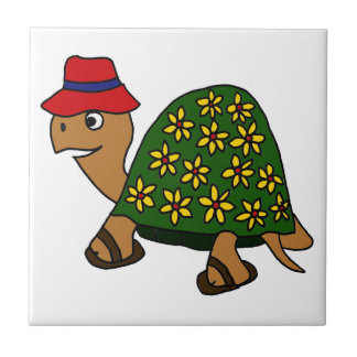 Funny Hippy Flower Turtle Cartoon Ceramic Tiles