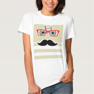 Funny Hipster; Beige Stripes; Striped T-shirt