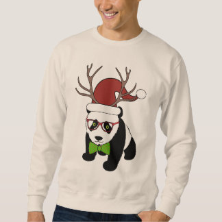Funny Hipster Christmas Panda with antlers Sweatshirt