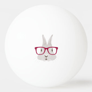 Funny Hipster Easter bunny with red rim glasses Ping Pong Ball