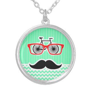Funny Hipster Mustache Green Chevron Pendants