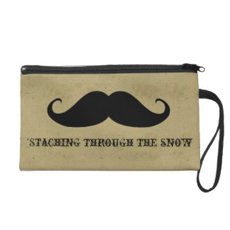 Funny hipster mustache holiday xmas mustaches wristlet purses