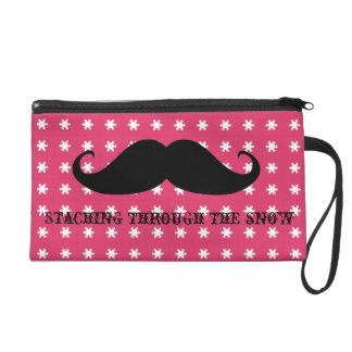 Funny hipster mustache holiday xmas mustaches wristlet