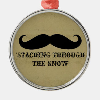 Funny hipster mustache holiday xmas mustaches christmas ornament
