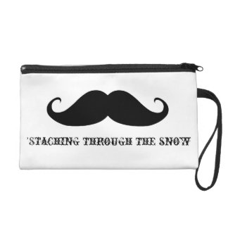 Funny hipster mustache holiday xmas mustaches wristlet clutches