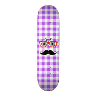 Funny Hipster Mustache Purple Gingham Skate Board Deck