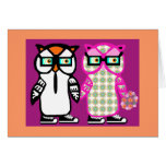 Funny Hipster Owl Wedding Bride & Groom Blank Card