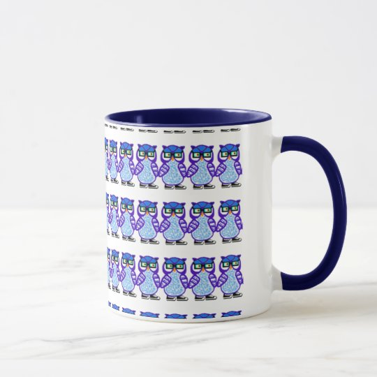 Funny Hipster Purple & Blue Owls Mug Coffee Cup