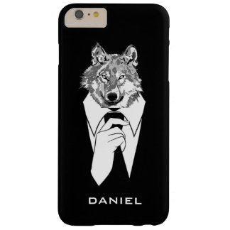 Funny Hipster Wolf with Black Tuxedo Personalized Barely There iPhone 6 Plus Case