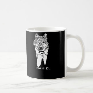 Funny Hipster Wolf with Black Tuxedo Personalized Coffee Mug