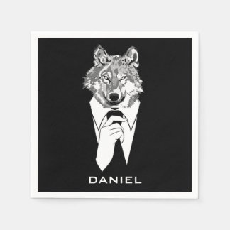 Funny Hipster Wolf with Black Tuxedo Personalized Disposable Serviettes