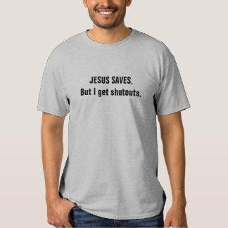 "Funny Hockey T-shirt - ""Jesus Saves. But..."""