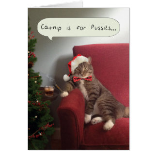 Funny Holiday Cat Card, Catnip is for Pussies Greeting Card