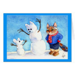 Funny holiday cat mouse snowman card