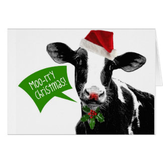 Funny Holiday Cow Merry Moo-rry Christmas Greeting Card