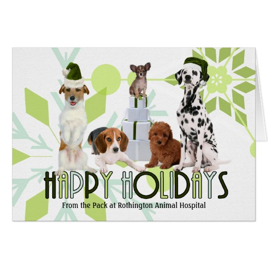 Funny Holiday Dogs in Shades of Green Card