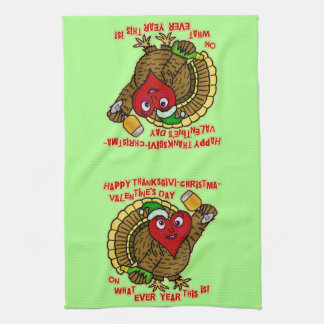 Funny Holiday Drunk Turkey Heart Kitchen Towels