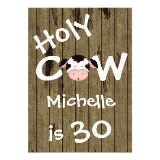 Funny Holy Cow 30th Birthday Party Invitation