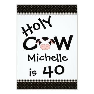 Funny Holy Cow 40th Birthday Party Invitation