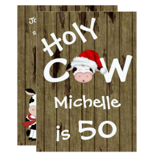 Funny Holy Cow 50th Christmas Birthday Invitation