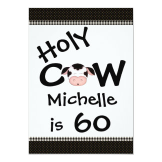 Funny Holy Cow 60th Birthday Party Invitation