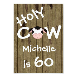 Funny Holy Cow 60th Humorous Birthday Party 13 Cm X 18 Cm Invitation Card