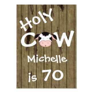 Funny Holy Cow 70th Birthday Party Invitation