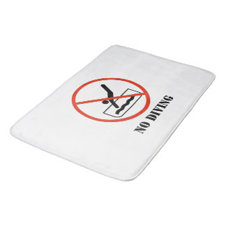 Funny home decor White NO DIVING Bath Mat