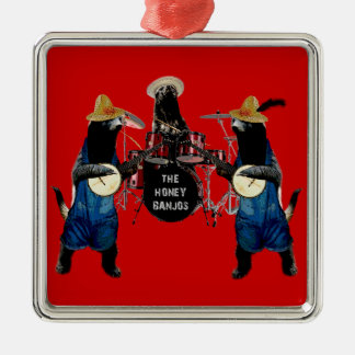 Funny Honey Badger Silver-Colored Square Decoration