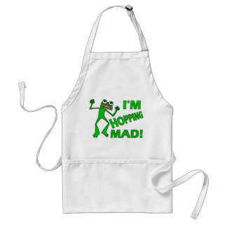 Funny Hopping Mad Frog Pun Aprons