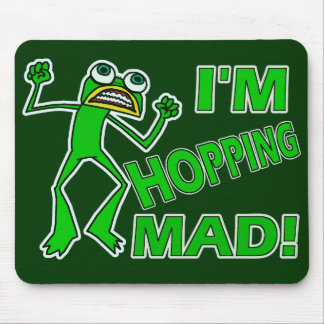 Funny Hopping Mad Frog Pun Mouse Pad