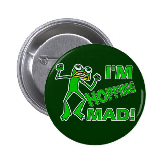 Funny Hopping Mad Frog Pun Pinback Button