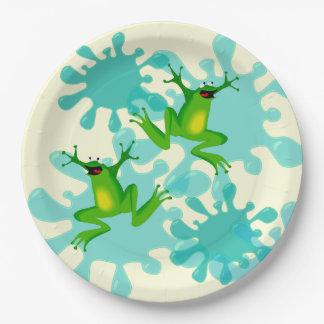 "Funny Hoppy Birthday Frog 9"" Party Plate"